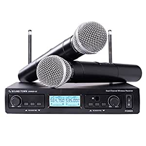 Sound Town 200-Channel Professional UHF Wireless Microphone System with 2 Handheld Mics, for Church, Business Meeting, Outdoor Wedding and Karaoke