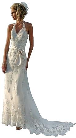 JoyVany Summer Beach Wedding Dress Halter Lace Backless Bridal Gowns