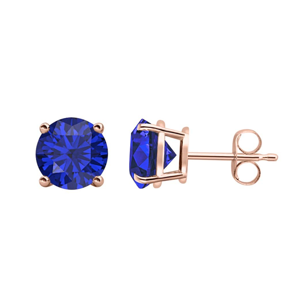 Round Clear 3mm Blue Topaz Solitaire Fancy Party Wear Stud Earrings 14k Rose Gold Over .925 Sterling Silver For Womens Girls