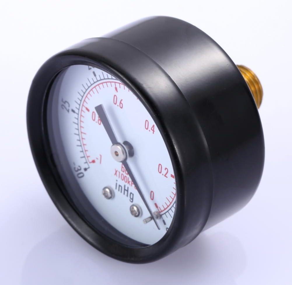 WinnerEco 1-1//2 Dry Utility Vacuum Pressure Gauge Blk.Steel 1//4 NPT Center Back Mount 30HG//0PSI