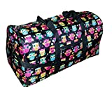 21 in Print Duffle, Overnight, Carry on Bag with Outside Pocket and Shoulder Strap (Solid Owls)