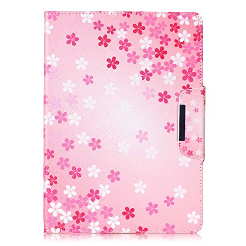 iPad Air Case, iPad Air Case 1st Generation, Dteck(TM) Slim Fit Smart Leather Case [Illustration Painting Design] Flip Stand Case Cover for iPad Air with Auto Sleep/Wake Function-Pink Flower by Dteck (Image #2)