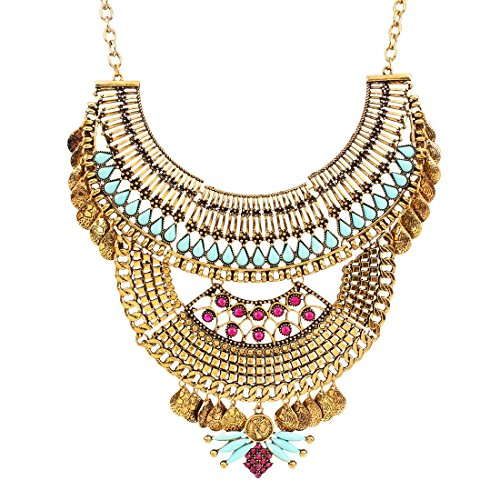 Chains Faux (Antique Alloy Chunky Bib Statement Women Bling Faux Crystal Choker Necklace)
