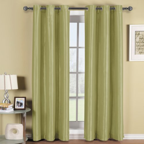 Cheap Soho Spring-Green Grommet Blackout Window Curtain Drape, Solid Pattern, 42×84 inches, by Royal Hotel