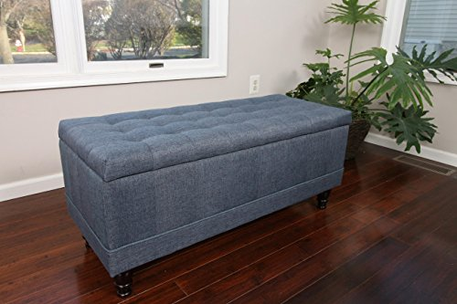 Home Life Lift Top Storage Bench with Tufted Accents Blue Linen Fabric with Wooden Legs