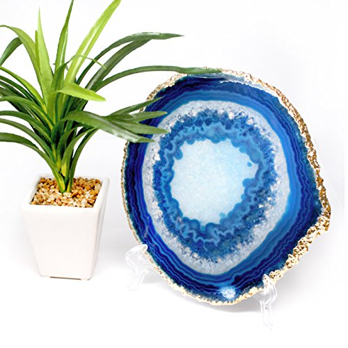 - The Royal Gift Shop: Blue 7 inch Large Extra Qaulity Genuine Brazilian Agate Slice with Gold Plated Edge + Easel (7