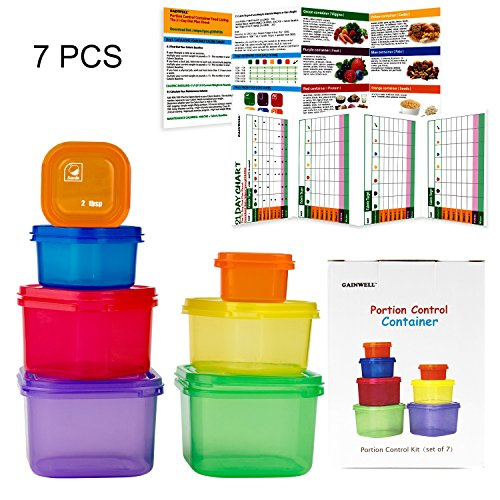 7 Piece Portion Control Container Set for Weight Loss - Portion Control Kit for Diet Meal Preparation - Comparable to 21 Day Fix - GAINWELL - 7 Day Meal