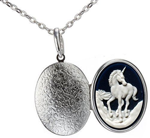 Unicorn Locket Best Friend Animal Necklace Photo Pendant Fashion Jewelry 18″ 24″ Chain Pouch Gift