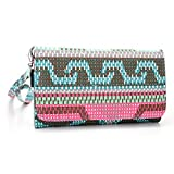 Wallet phone holder case[ Pink/Teal Hipster Pattern] Universal - Best Reviews Guide