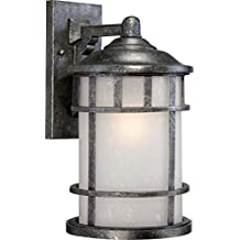 Nuvo Lighting 60/5633 Manor Industrial Large 1-Light Wall Lantern 100-watt A19 Outdoor Porch and Patio Lighting Frosted Seed Glass, Aged Silver