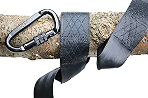 M & M Sales Enterprises 10' Tree Strap with Carabiner (2 Piece), Black