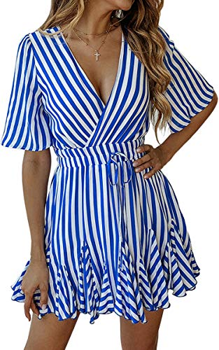 ECOWISH Women's Dresses Striped Wrap V Neck Ruffle Hem Short Sleeve Pleated Mini Skater Dress Blue M