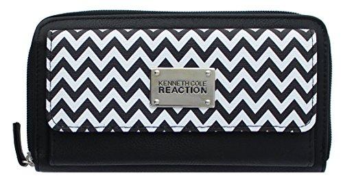 Kenneth Cole Reaction Zip-Around Urban Organizer Clutch (BLACK-WHITE / - Kenneth Cole Zip