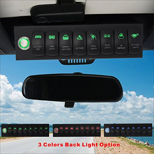 (Voswitch Jeep Wrangler 2007-2018 JK & JKU Overhead 8-Switch Pod/Panel with Control and Source Box Green Backlight(Comes with 15 Laser Etched Switch Covers) )