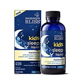 Mommy's Bliss Kids Sleep Liquid with Melatonin and Calming Herbs to Support Your Child's Natural Sleep Process - Natural Grape Flavor, Ages 3 Years to Adults - 4 Fl Ounce