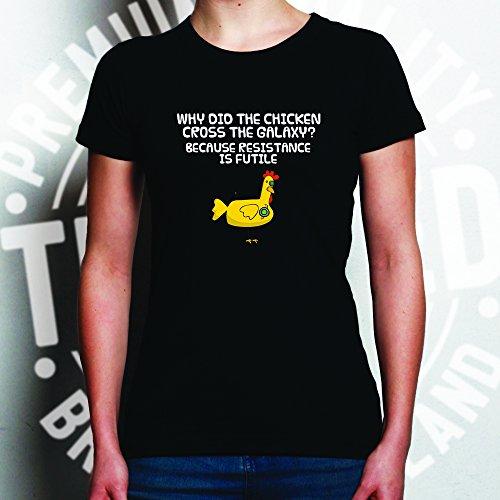Cyborg pollo disegno stampato Robot Joke scienza di Star Trek T-Shirt Da Donna