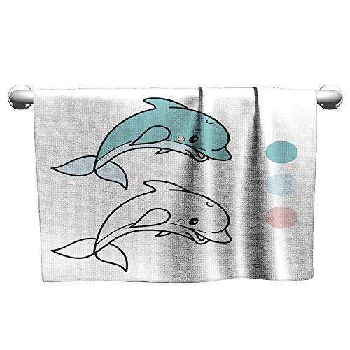 Michaeal Beach Towels Dolphin Coloring Book Page Cartoon Vector Illustration Game for Children Terry Towels 20 x 20 -