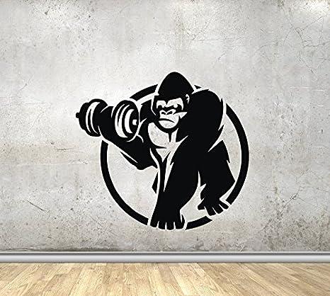 Amazon Com Fsds Vinyl Wall Decal Animals Gorilla With Dumbbells Monkey Gym Home Decor Sticker Vinyl Decals Home Kitchen