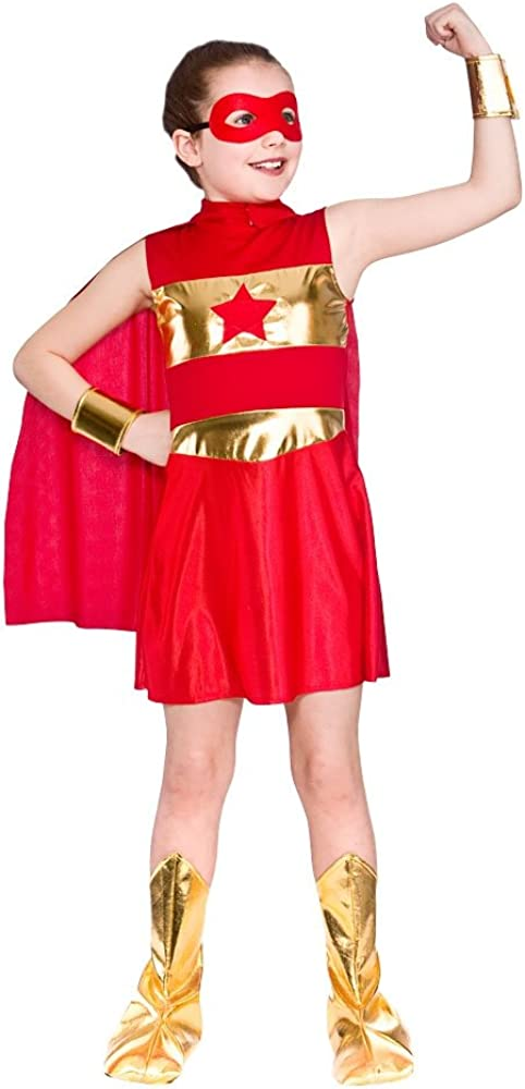 GIRLS RED AVENGING SUPER HERO FANCY DRESS COSTUME: Amazon.es: Ropa ...