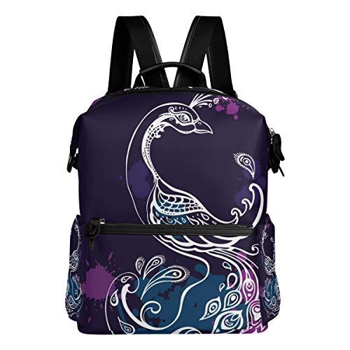 (MERRYSUGAR School Backpack Travel Bag Daypack School Bag for Girls Teens Boys Kids Peacock Feather Purple Animal Backpacks for Middle School High School Waterproof)