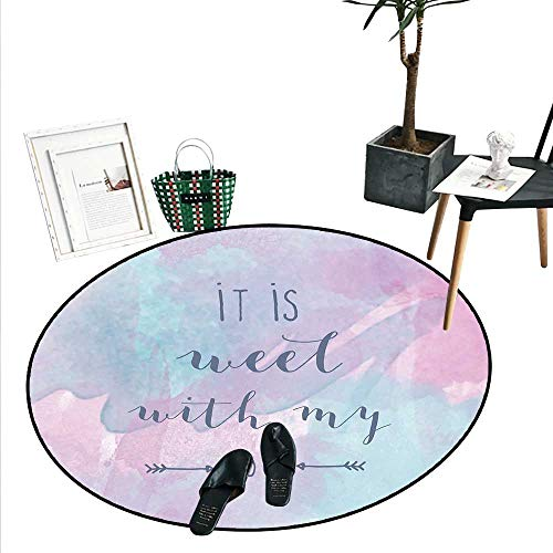 It is Well with My Soul Round Rug Kid Carpet Abstract Watercolor Style with Arrows Typography Inspired Home Decor Foor Carpe (2'3