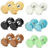 Jstyle Fake Ear Plugs Stud Earrings for Women Men Stainless Steel Wood Stone Tunnel Earrings 18G