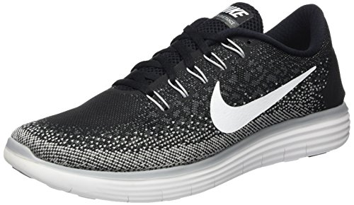 Nike Men's Free RN Distance, BLACK/WHITE-DARK GREY-WOLF GREY, 15 M US Matte Silver/Summit White