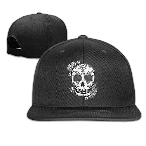 Halloween Sugar Skull With Roses Unisex Flat Brim Baseball Hats 100% Cotton Adjustable Hip Hop Caps