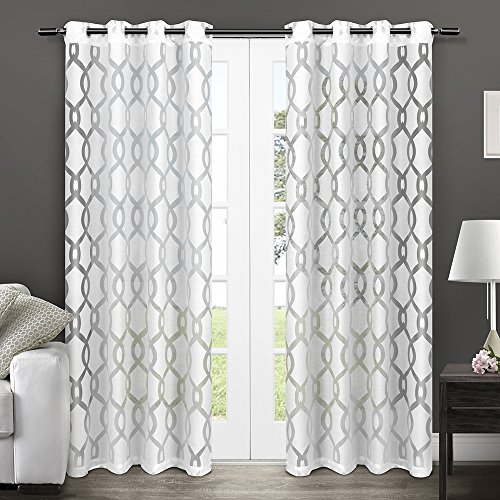 Exclusive Home Curtains Rio Burnout Sheer Grommet Top Window Curtain Panel Pair, Winter White, 54x84 (And Curtains White Silver)
