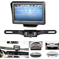 Backup Camera and Monitor Kit, LESHP Waterproof Rear View License Plate 7 LED Backup Night Vision Camera and 4.3 LCD Color Display Rear View Monitor Kit and Assist Safety Distance Lines for Cars