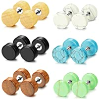 Jstyle 3-6 Pairs Fake Ear Plugs Stud Earrings for Women Men Stainless Steel Wood Stone Tunnel Earrings 16G-18G