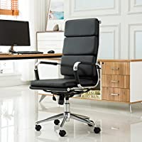Roundhill Furniture Modica Chromel Contemporary High Back Office Chair, Black