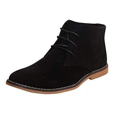 Mens New Black Beige Navy Blue Faux Suede Lace Up Desert Ankle Boots Shoes  7 UK beab1122f928