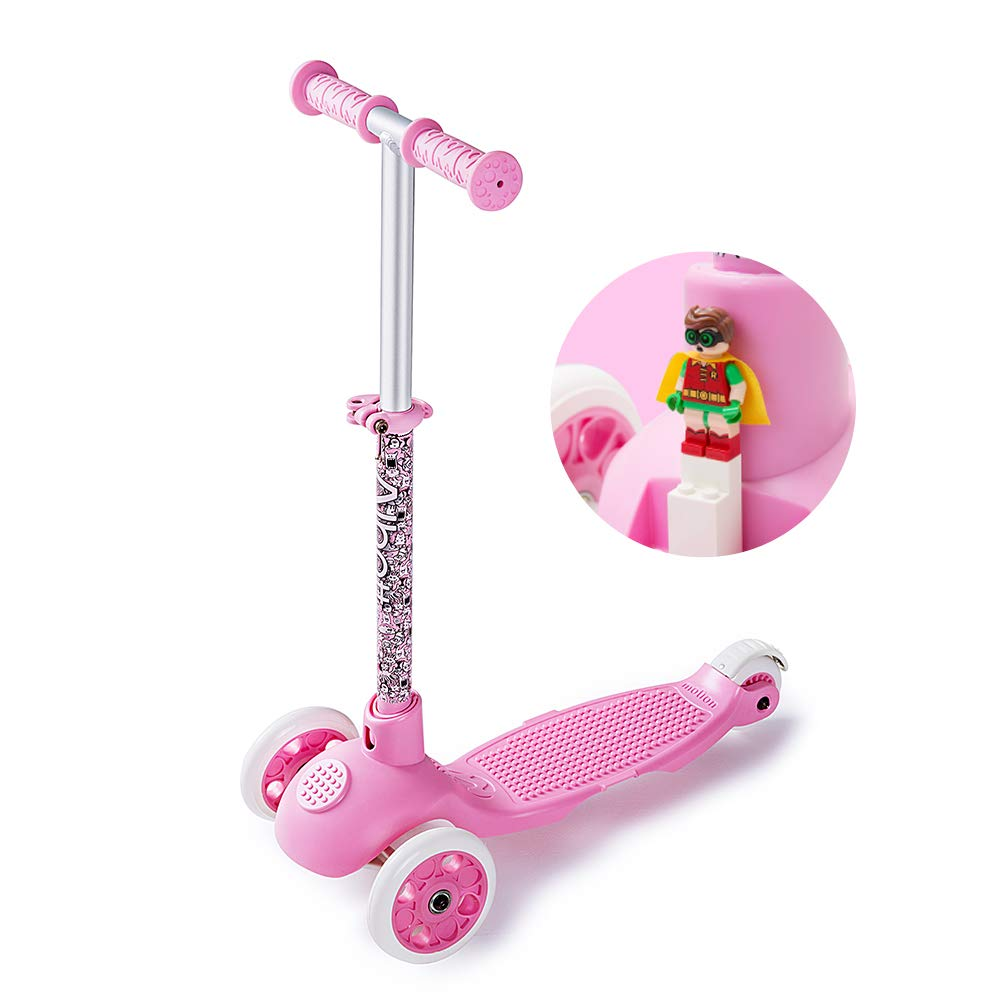 Albott Scooter for Kids - Blocks Toy Scooter 3 Wheel Scooter with LED Wheels for Toddlers Age 2-6(Pink) by Albott