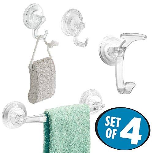 mDesign Suction Bathroom Shower Washcloth