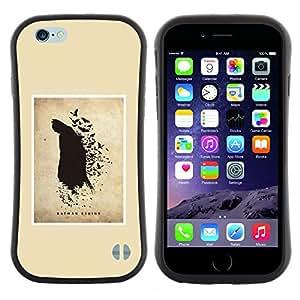 "Pulsar iFace Series Tpu silicona Carcasa Funda Case para Apple iPhone 6 / 6S (4.7 INCH) , Pintura Murciélago Negro Flying héroe del dibujo del arte"""