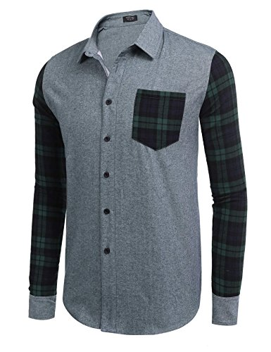 Coofandy Men's Casual Western Cotton Brushed Fleece Long Sleeve Plaid Button Down ()
