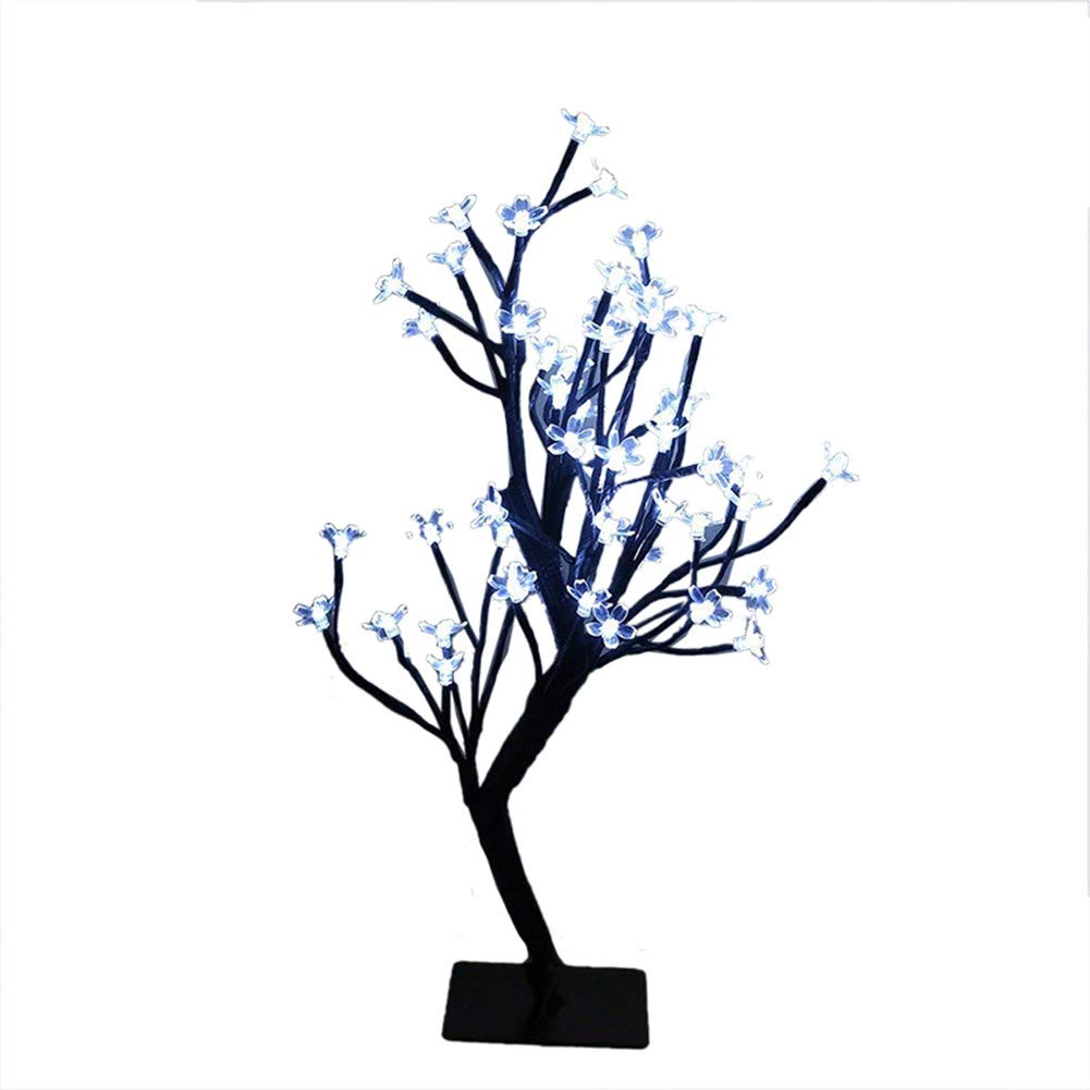 MUNAN LED Cherry Blossom Tree Branches Light 0.45M/17.72 Inch 40 Bulbs Table Desk Bonsai lamp Decoration for Home Festival Party Wedding (White)