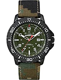 Men's T49965 Expedition Uplander Green Camo Fabric Strap Watch