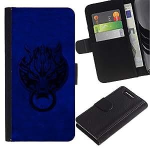 All Phone Most Case / Oferta Especial Cáscara Funda de cuero Monedero Cubierta de proteccion Caso / Wallet Case for Sony Xperia Z1 Compact D5503 // Blue Door Wolf