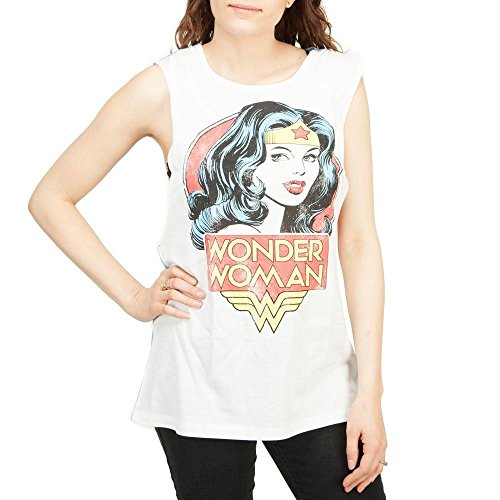 Wonder Woman Cutout Spangled Back Juniors Tank Top - White (X-Large)