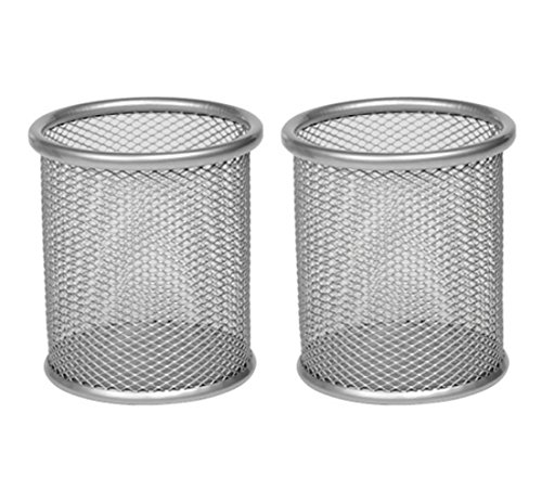 - EasyPAG 2 Pcs 3.5 inch Round Mesh Cup Desk Pen Pencil Holder,Silver