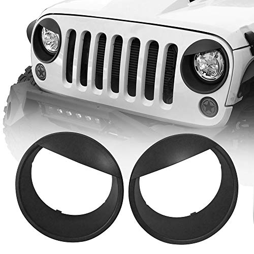 Hooke Road Black Angry Bird Headlight Cover Clip-in Bezels for 2007-2015 Jeep Wrangler JK & Unlimited - Pair
