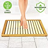 Serene Life Bamboo Wood Bathroom Bath Mat - Heavy Duty Natural or Shower Floor Foot Rug with Elevated Design for Water Evaporation and Non Slip Rubber Feet for Indoor Outdoor Use - SLFBMT10, Brown