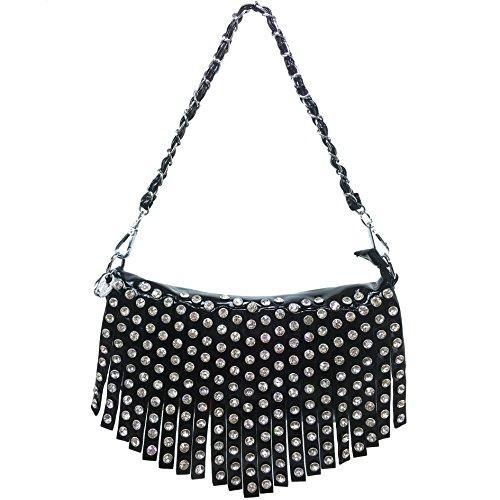 Justin West Shiny Bling Rhinestone Fringe Glossy Mini Chain Messenger Cross Body Handbag Purse (Black)