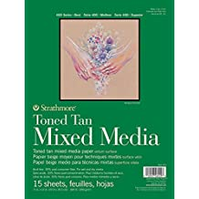 "Strathmore 462-211 400 Series Toned Tan Mixed Media Pad, 11""x14"" Glue Bound, 15 Sheets"