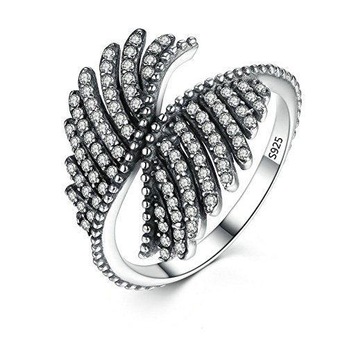 Dark Phoenix Halloween Costume (PSRINGS 925 Sterling Silver Phoenix Feather Finger Rings Compatible With Pan Ring Fine Jewelry 8.0)