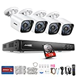 ANNKE 6-Megapixel 4 Channel Network POE Video Security System (NVR Kit) - Four 2MP POE Outdoor Bullet IP Cameras with 1TB Hard Disk Drive, 100ft Night Vision, Power over Ethernet,Easy Remote Access,E