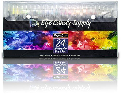 Real Watercolor Brush Pens, 24 Paint Markers with Flexible Brush Tips, Professional Pens for Painting, Calligraphy, Manga, 100% Nontoxic, Blendable, Vibrant, Leak-Proof Colors Eye Candy Supply