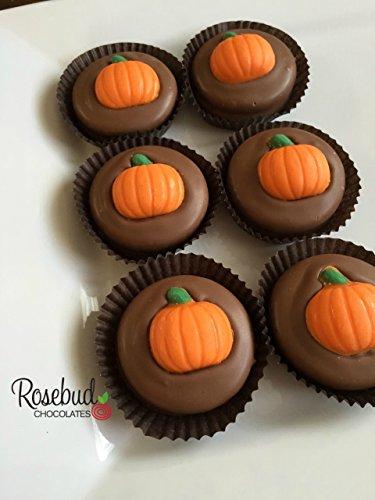 Luau Pumpkin - 12 PUMPKIN Milk Chocolate Covered Oreo Cookies Candy Party Favors (One Dozen)